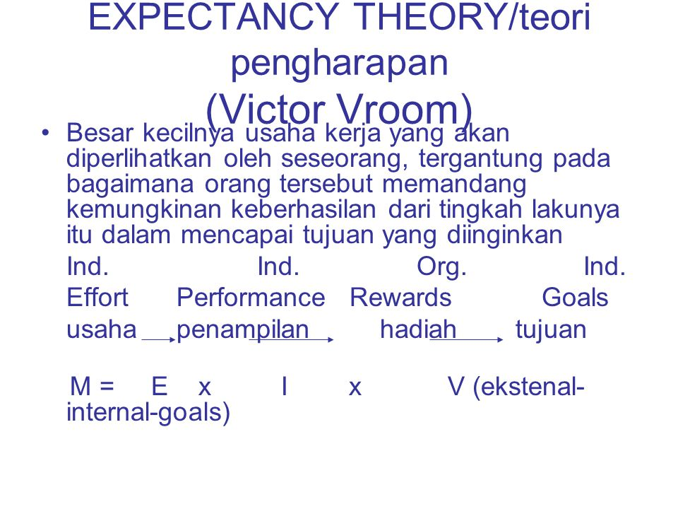 EXPECTANCY THEORY/teori pengharapan (Victor Vroom)