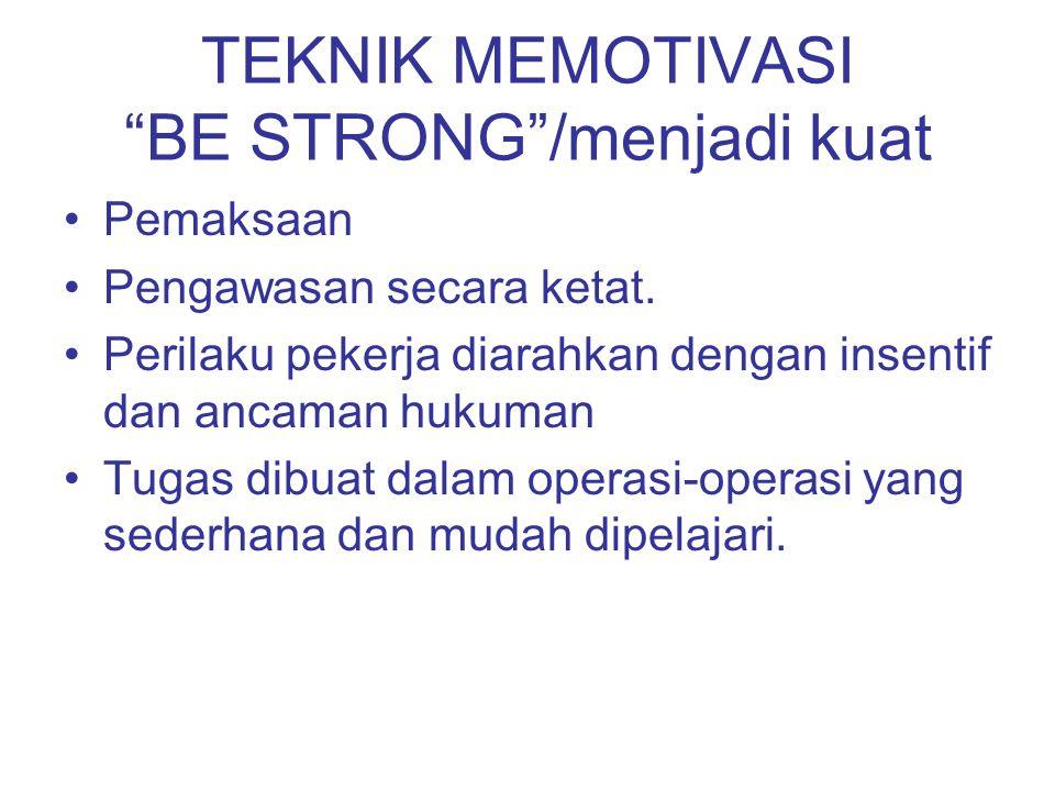 TEKNIK MEMOTIVASI BE STRONG /menjadi kuat