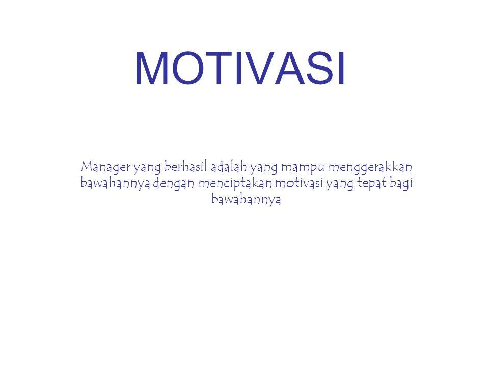 MOTIVASI Manager yang berhasil adalah yang mampu menggerakkan bawahannya dengan menciptakan motivasi yang tepat bagi bawahannya.