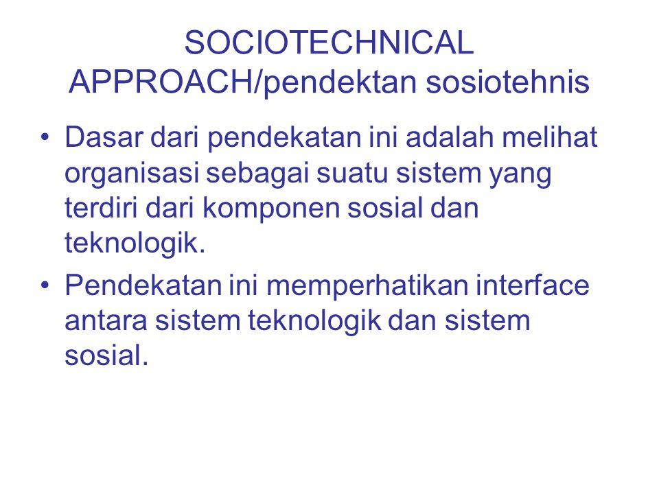 SOCIOTECHNICAL APPROACH/pendektan sosiotehnis