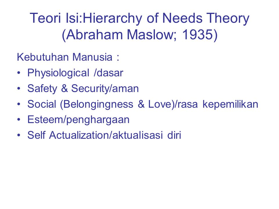 Teori Isi:Hierarchy of Needs Theory (Abraham Maslow; 1935)