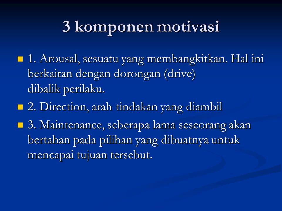 3 komponen motivasi 1. Arousal, sesuatu yang membangkitkan. Hal ini berkaitan dengan dorongan (drive) dibalik perilaku.