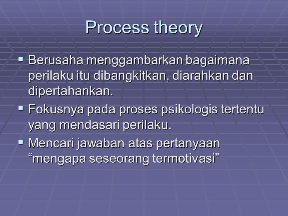Process theory Berusaha menggambarkan bagaimana perilaku itu dibangkitkan, diarahkan dan dipertahankan.