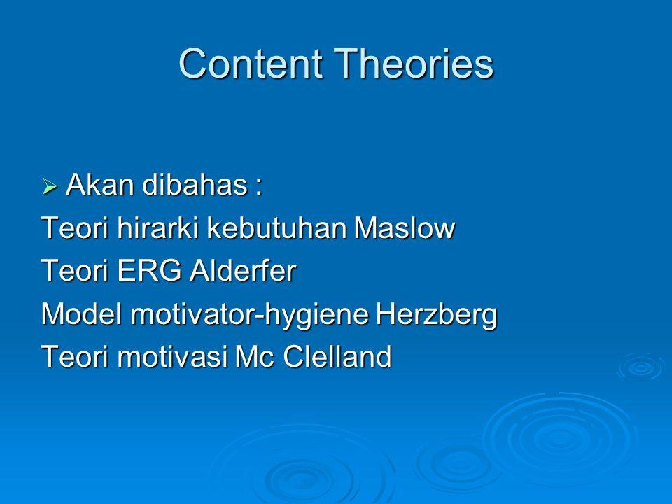 Content Theories Akan dibahas : Teori hirarki kebutuhan Maslow