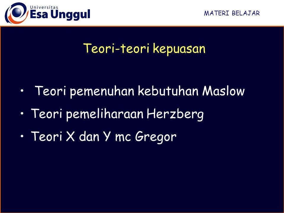 Teori pemenuhan kebutuhan Maslow Teori pemeliharaan Herzberg