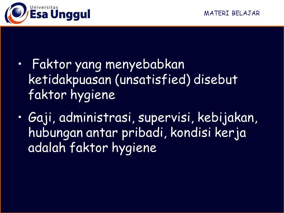 MATERI BELAJAR Faktor yang menyebabkan ketidakpuasan (unsatisfied) disebut faktor hygiene.