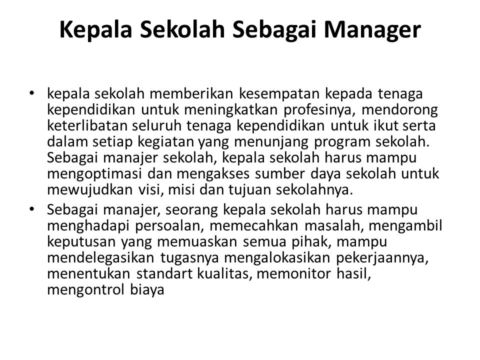 Kepala Sekolah Sebagai Manager
