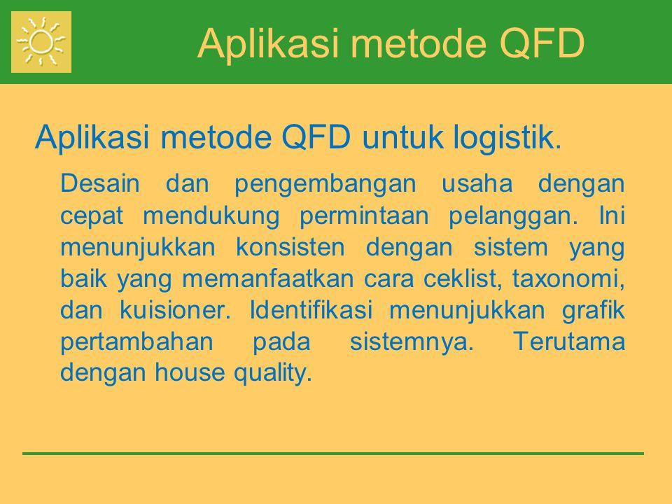 Aplikasi metode QFD Aplikasi metode QFD untuk logistik.