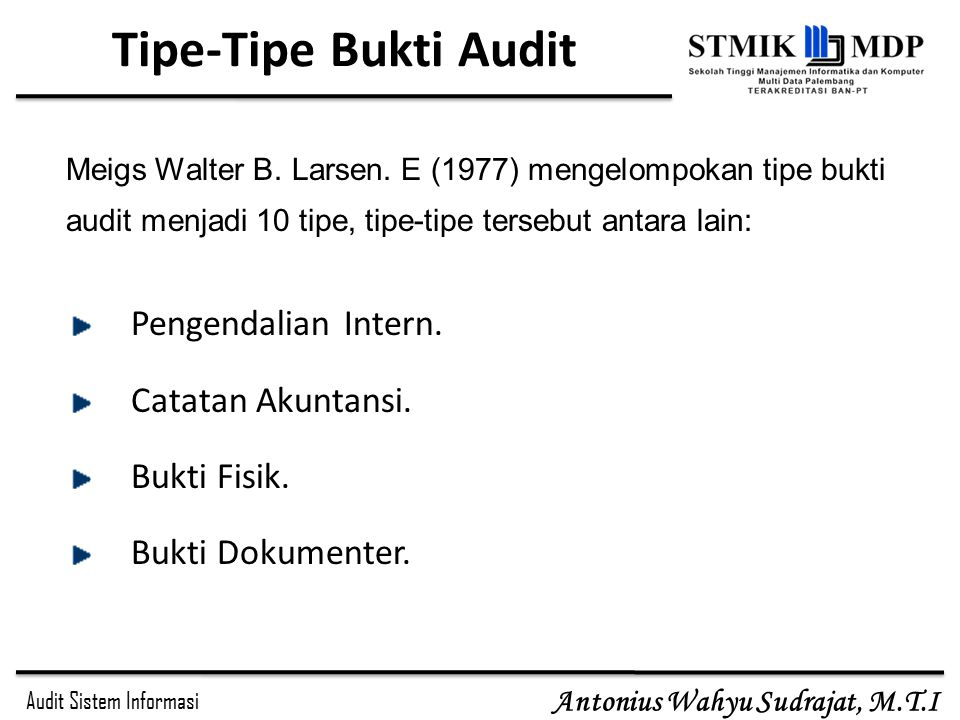 Tipe-Tipe Bukti Audit Pengendalian Intern. Catatan Akuntansi.