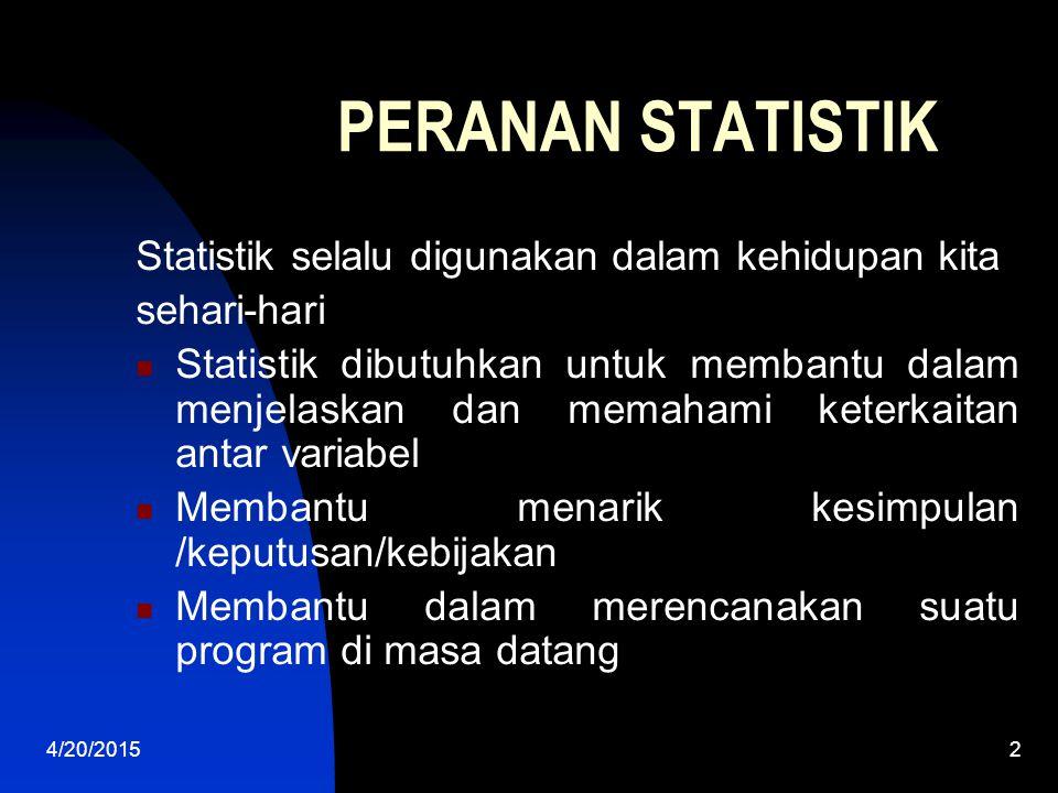 PERANAN STATISTIK Statistik selalu digunakan dalam kehidupan kita