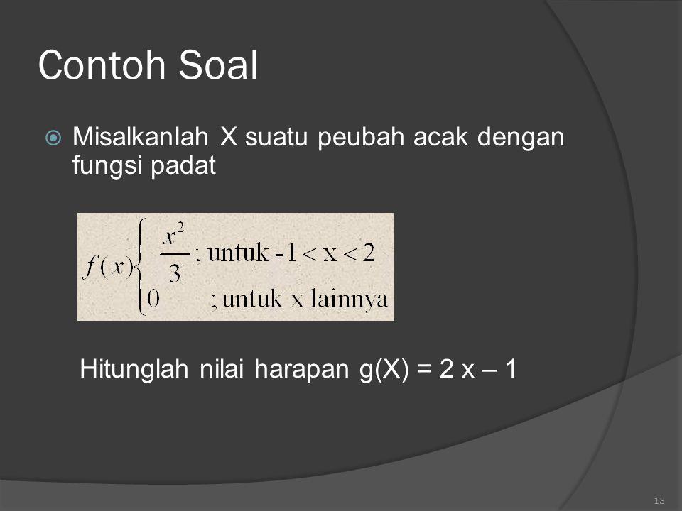 Contoh Soal Misalkanlah X suatu peubah acak dengan fungsi padat