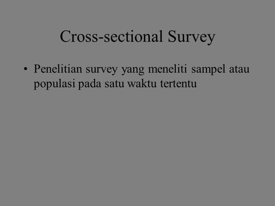Cross-sectional Survey