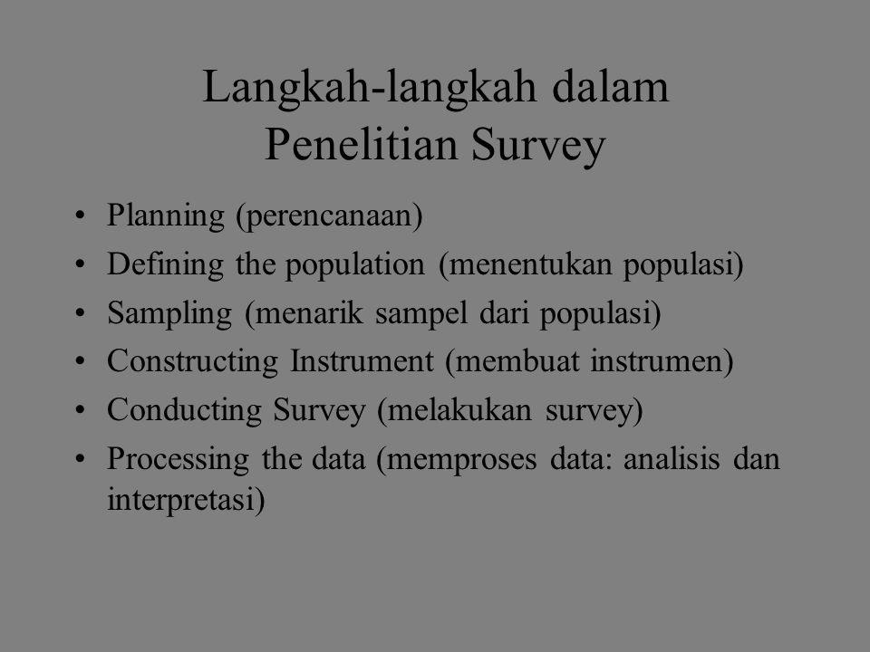 Langkah-langkah dalam Penelitian Survey