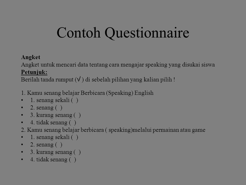Contoh Questionnaire Angket
