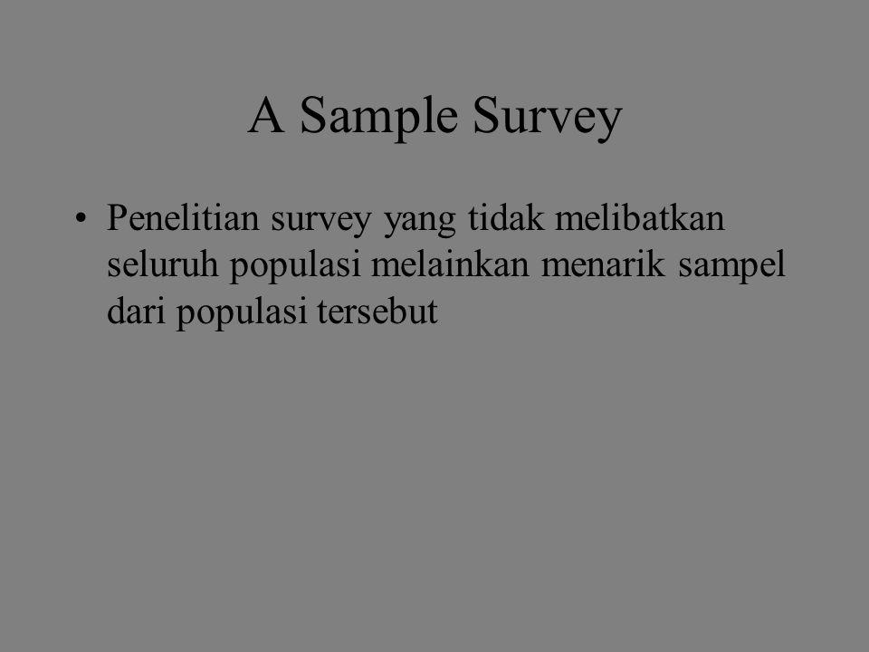 A Sample Survey Penelitian survey yang tidak melibatkan seluruh populasi melainkan menarik sampel dari populasi tersebut.