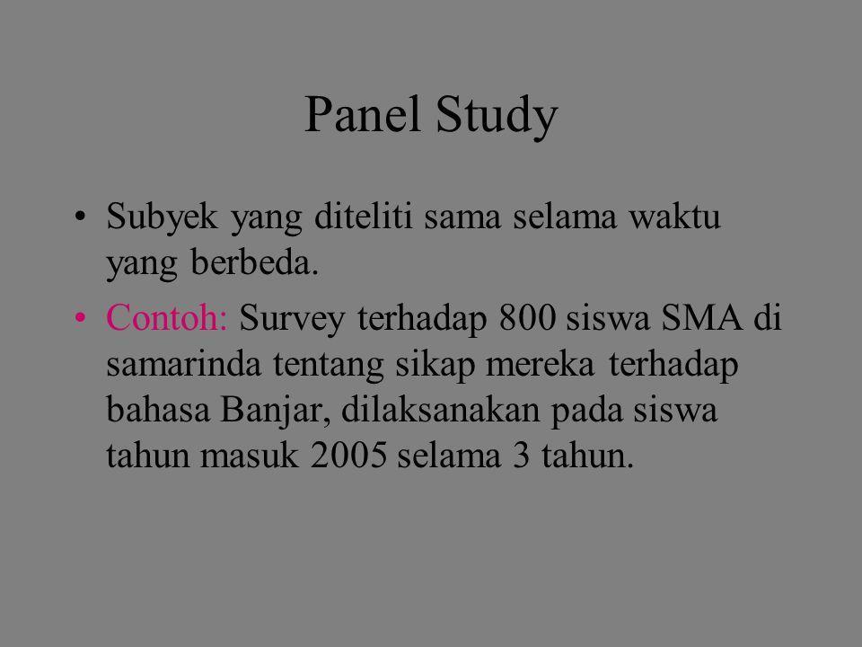 Panel Study Subyek yang diteliti sama selama waktu yang berbeda.