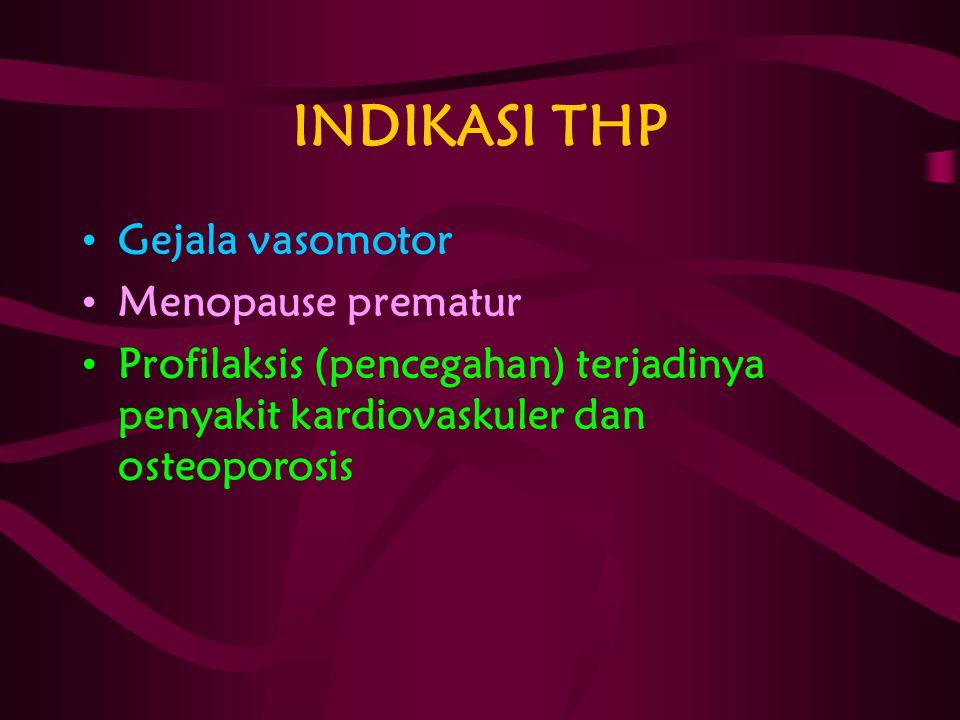 INDIKASI THP Gejala vasomotor Menopause prematur