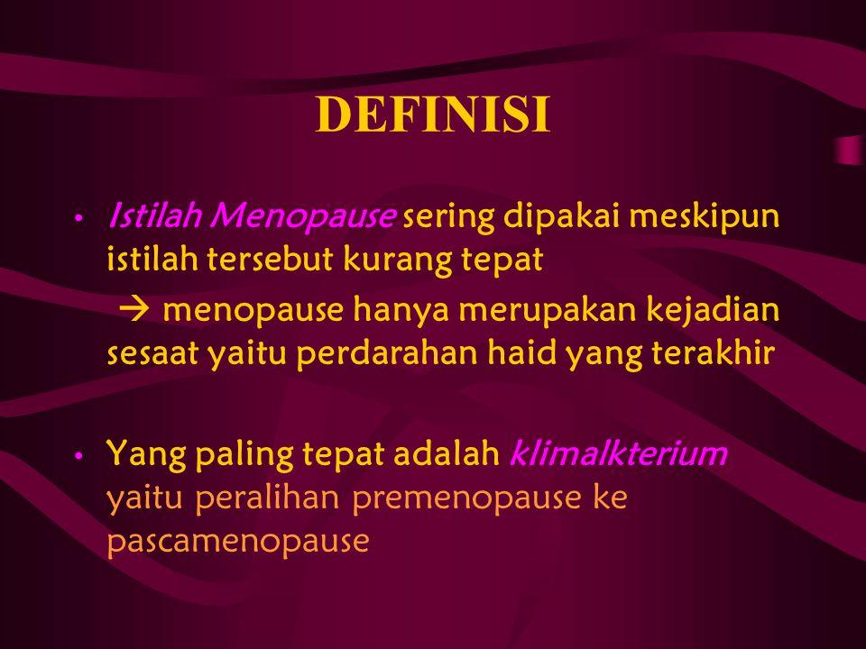 DEFINISI Istilah Menopause sering dipakai meskipun istilah tersebut kurang tepat.