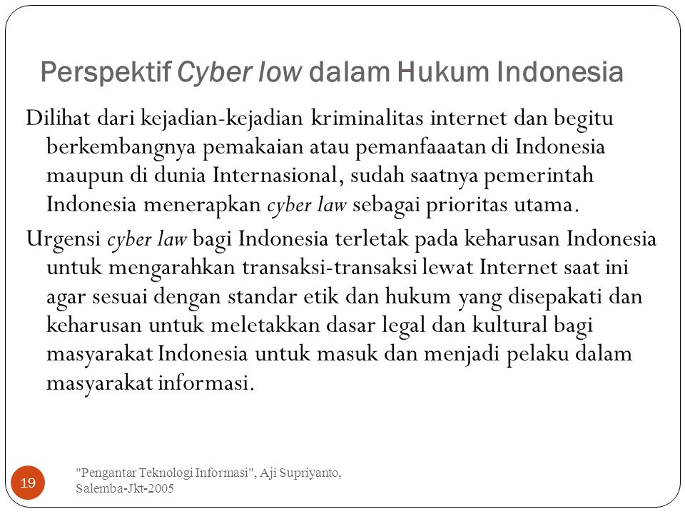 Perspektif Cyber low dalam Hukum Indonesia