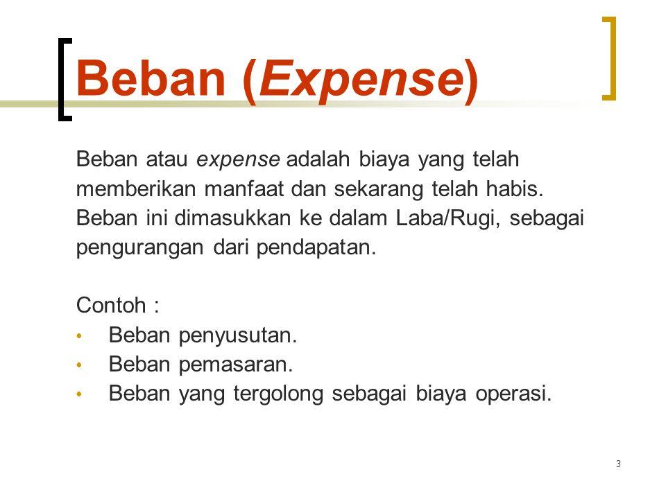 Beban (Expense) Beban atau expense adalah biaya yang telah