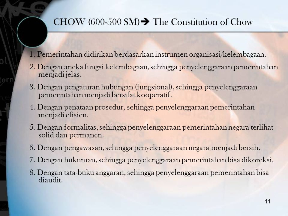 CHOW (600-500 SM) The Constitution of Chow