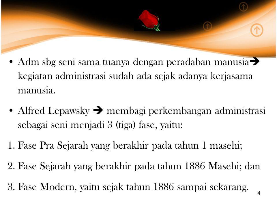 Adm sbg seni sama tuanya dengan peradaban manusia kegiatan administrasi sudah ada sejak adanya kerjasama manusia.