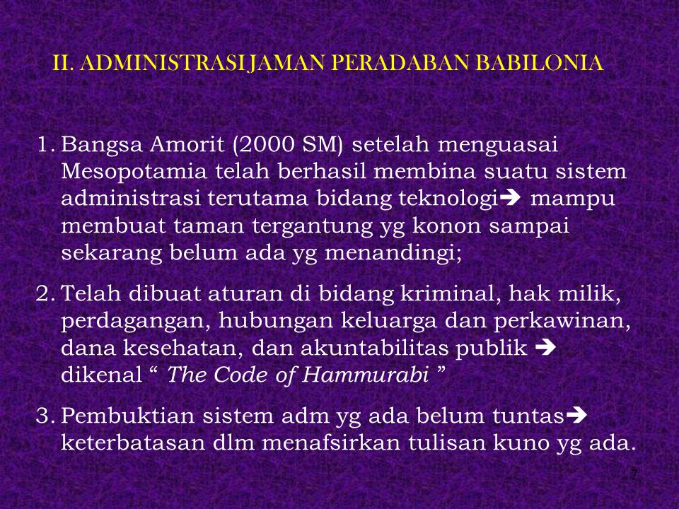 II. ADMINISTRASI JAMAN PERADABAN BABILONIA