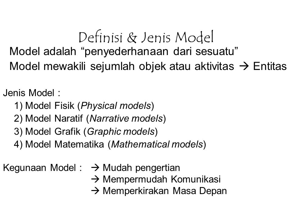 Definisi & Jenis Model Model adalah penyederhanaan dari sesuatu
