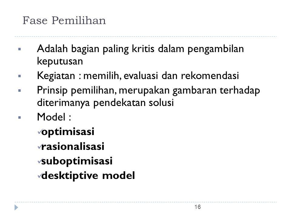 Fase Pemilihan Adalah bagian paling kritis dalam pengambilan keputusan. Kegiatan : memilih, evaluasi dan rekomendasi.