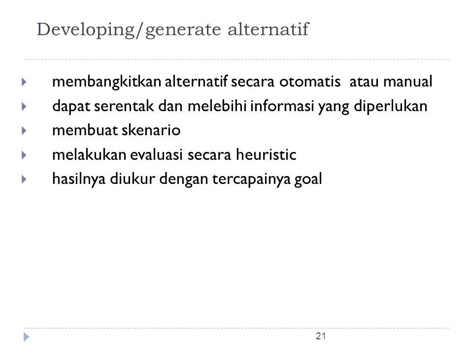 Developing/generate alternatif