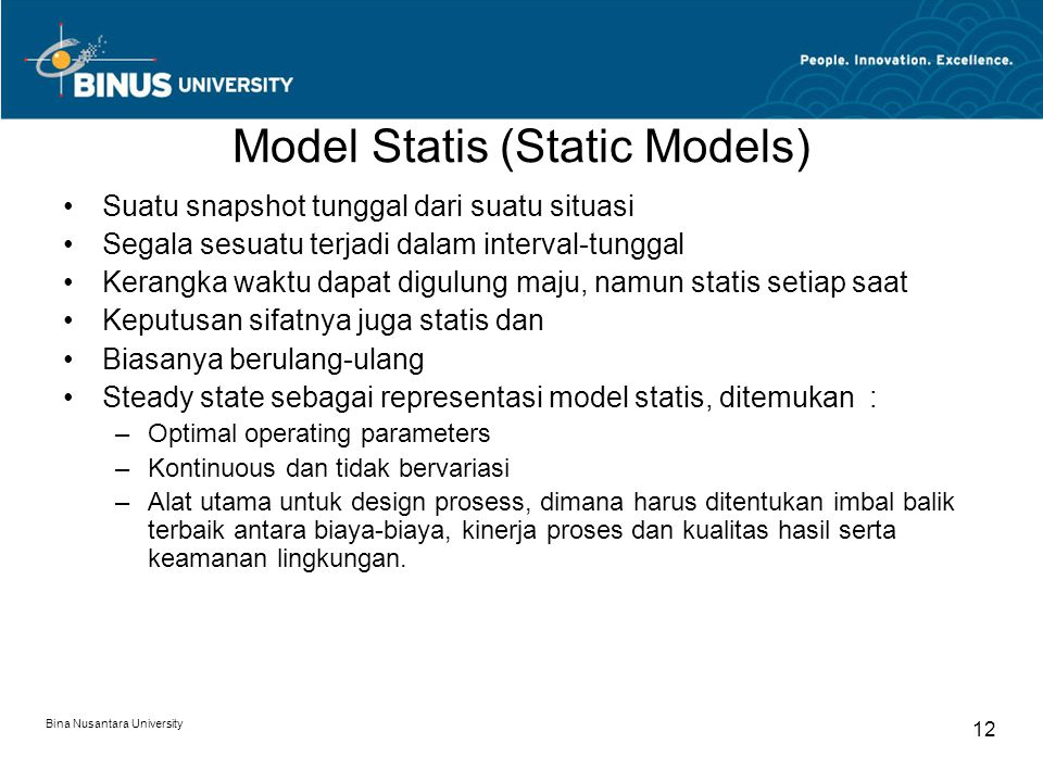 Model Statis (Static Models)