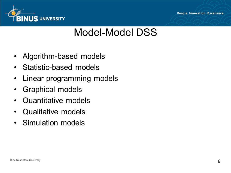 Model-Model DSS Algorithm-based models Statistic-based models