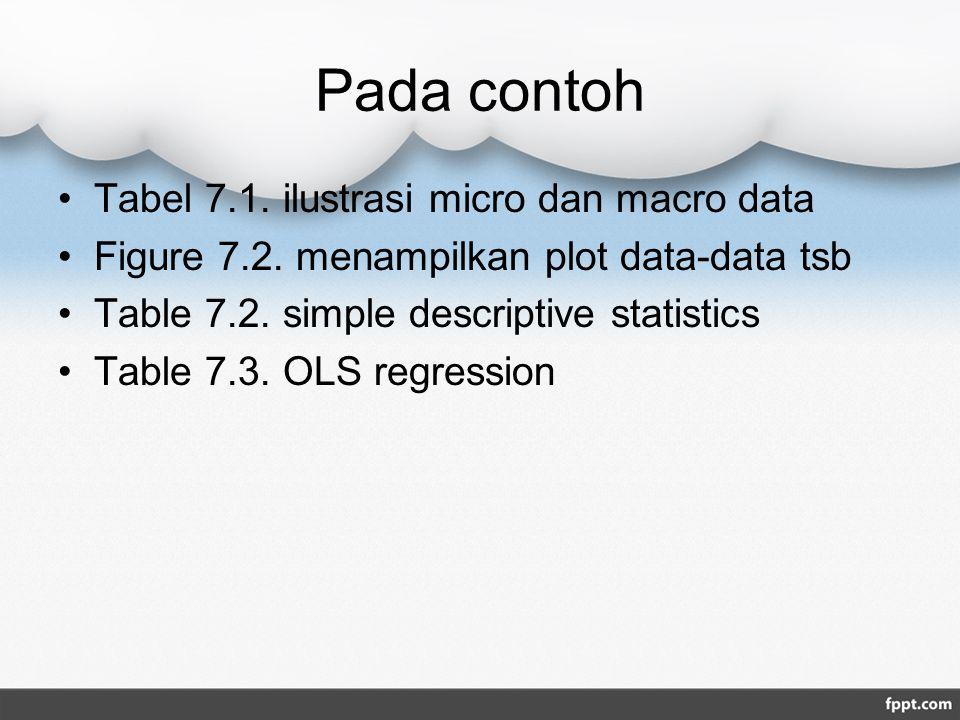 Pada contoh Tabel 7.1. ilustrasi micro dan macro data