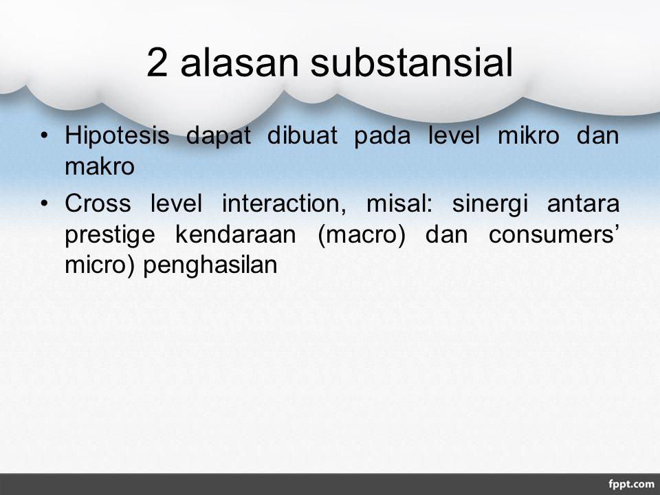 2 alasan substansial Hipotesis dapat dibuat pada level mikro dan makro