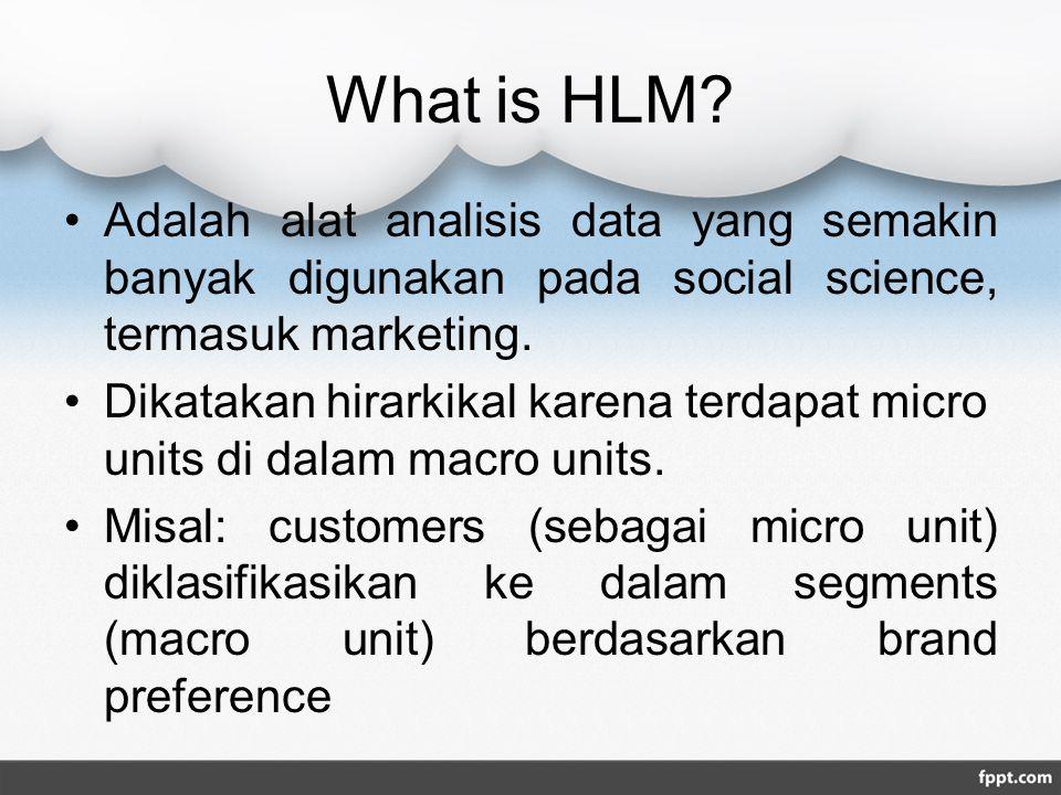 What is HLM Adalah alat analisis data yang semakin banyak digunakan pada social science, termasuk marketing.