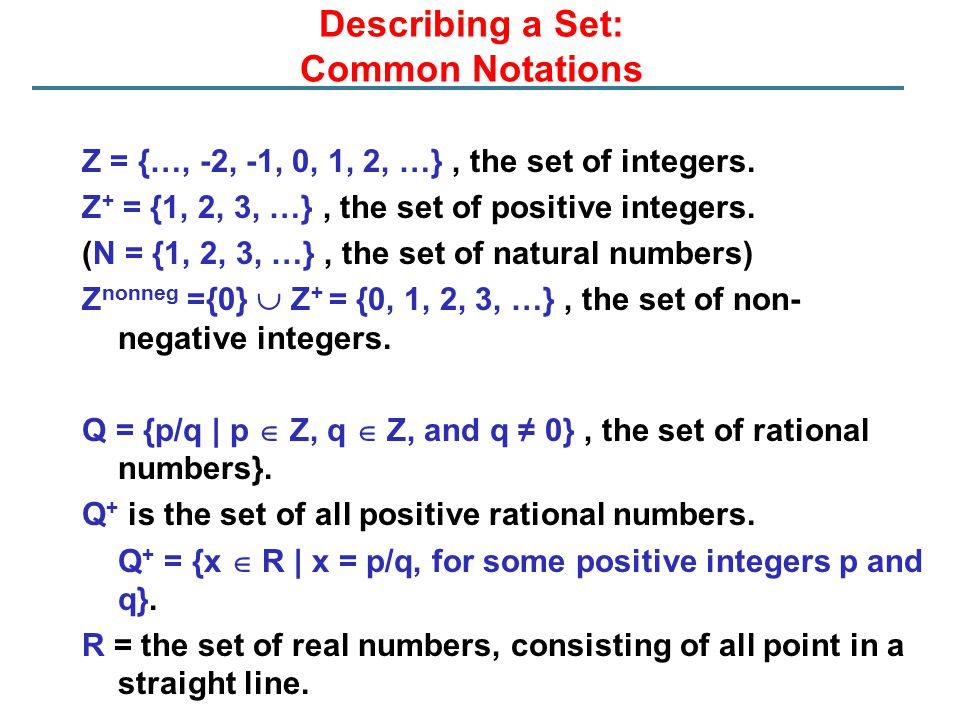 Describing a Set: Common Notations