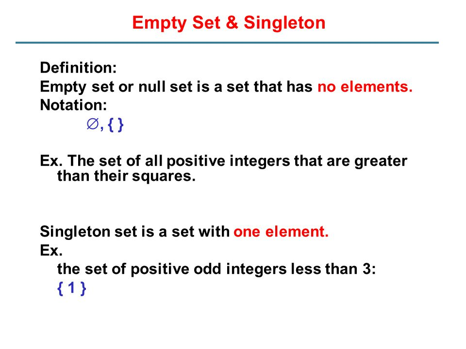 Empty Set & Singleton Definition: