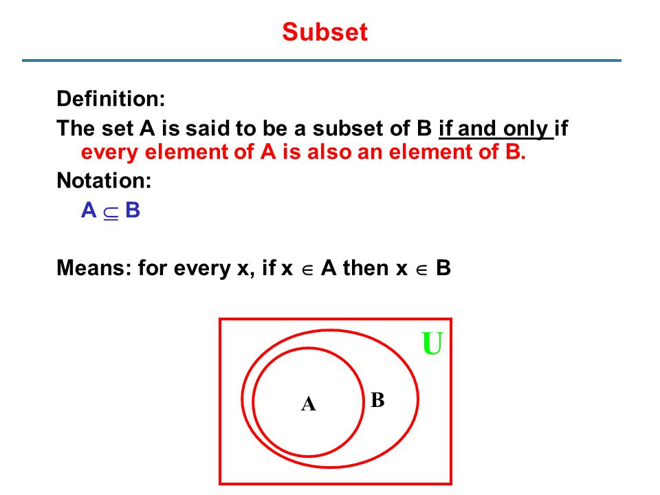 Subset Definition: The set A is said to be a subset of B if and only if every element of A is also an element of B.
