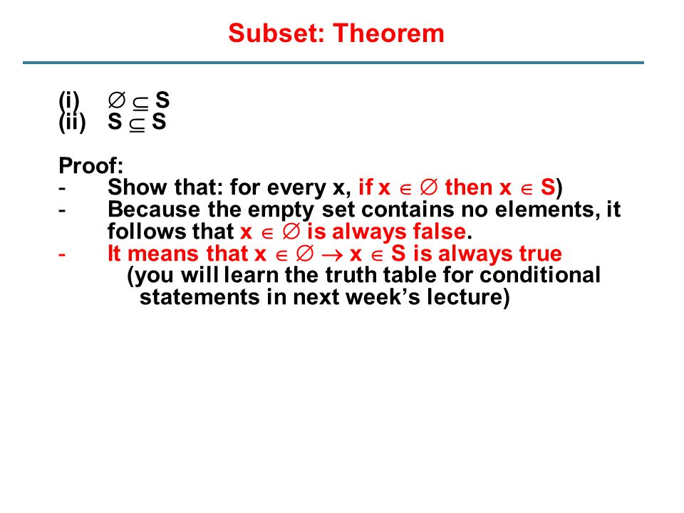 Subset: Theorem   S S  S Proof: