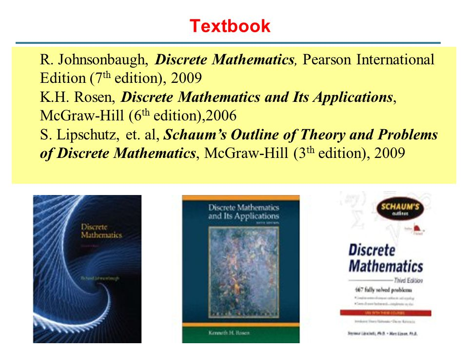 Textbook R. Johnsonbaugh, Discrete Mathematics, Pearson International Edition (7th edition), 2009.