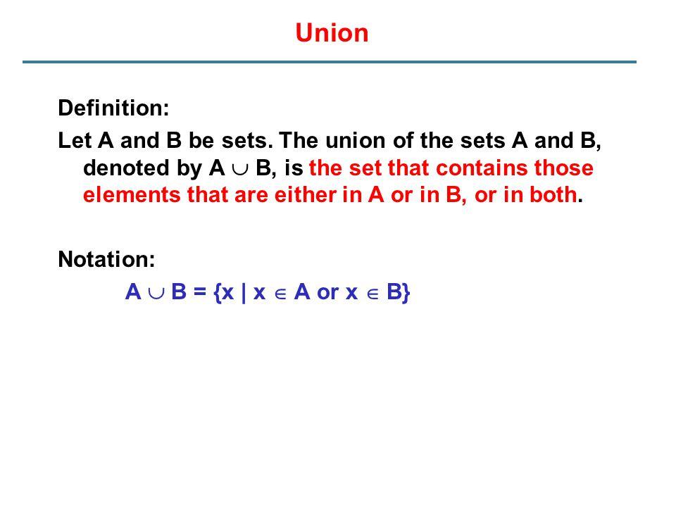 Union Definition: