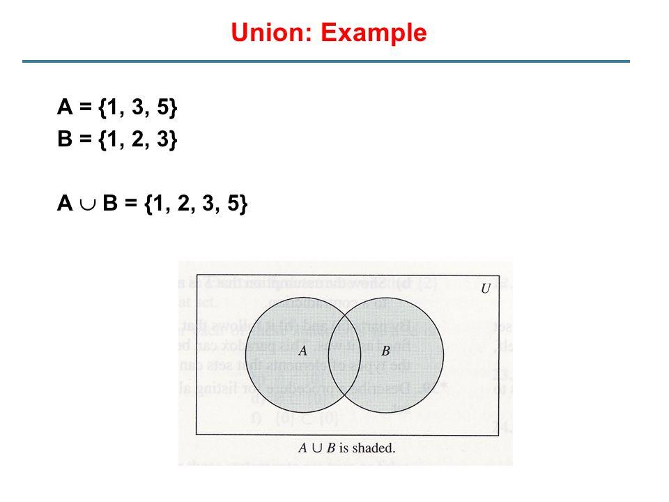 Union: Example A = {1, 3, 5} B = {1, 2, 3} A  B = {1, 2, 3, 5}