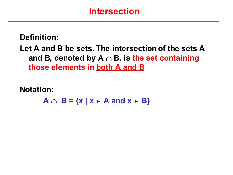 Intersection Definition: