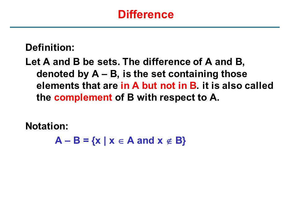 Difference Definition: