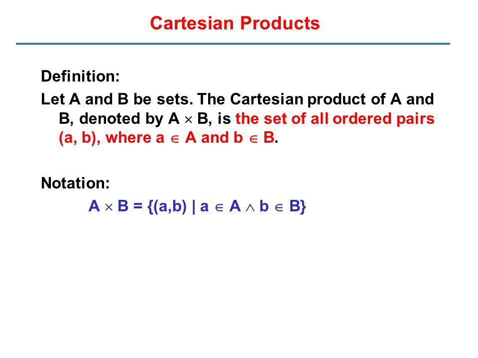 Cartesian Products Definition:
