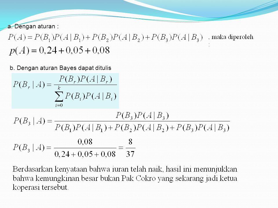 a. Dengan aturan : b. Dengan aturan Bayes dapat ditulis