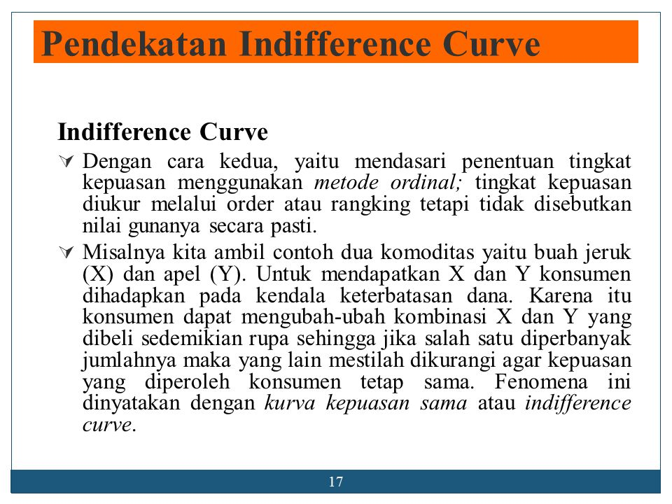 Pendekatan Indifference Curve