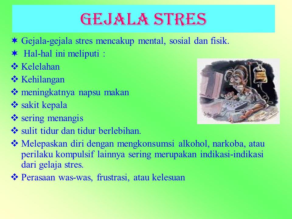 Gejala Stres Gejala-gejala stres mencakup mental, sosial dan fisik.