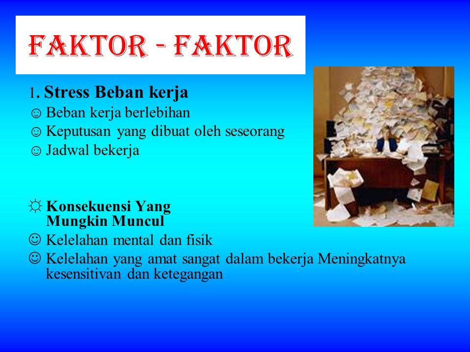 FAKTOR - FAKTOR 1. Stress Beban kerja Beban kerja berlebihan