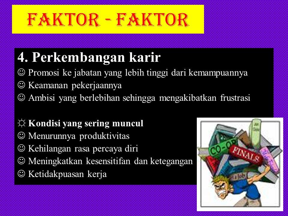 FAKTOR - FAKTOR 4. Perkembangan karir